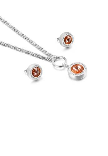 Glamorousky 橘色 時尚簡約幾何圓形橙色鋯石316L鋼項鏈和耳釘套裝 04D57AC0891B6DGS_1