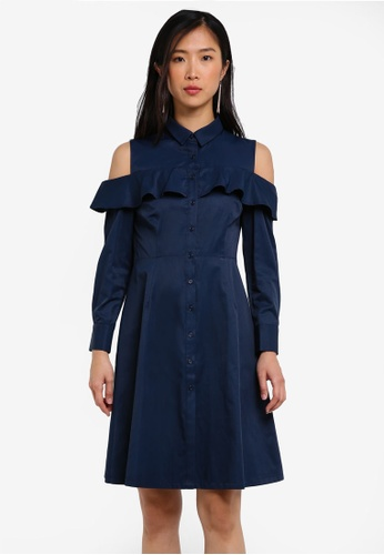ZALORA navy Ruffle Front Shirt Dress 5F190AAF6FC034GS_1
