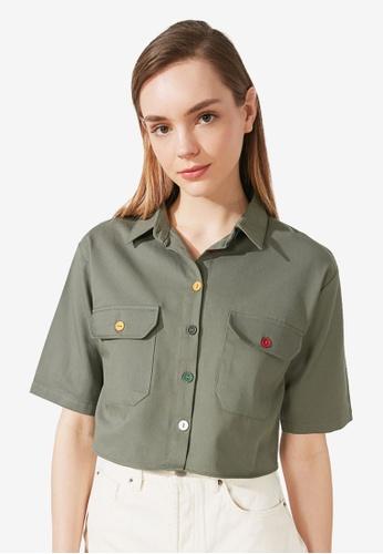 Trendyol green Multicolored Button Cropped Shirt C3DD3AA8E3E5DEGS_1