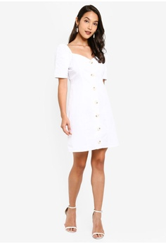 f01b44041721 11% OFF MISSGUIDED Square Neck Button Detail Dress S$ 54.90 NOW S$ 48.90  Sizes 6 8 10 12 14