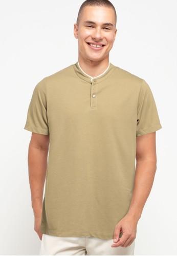 Tolliver brown Contrast Neck Detail Polo Shirt B2D81AA4D0F2D4GS_1