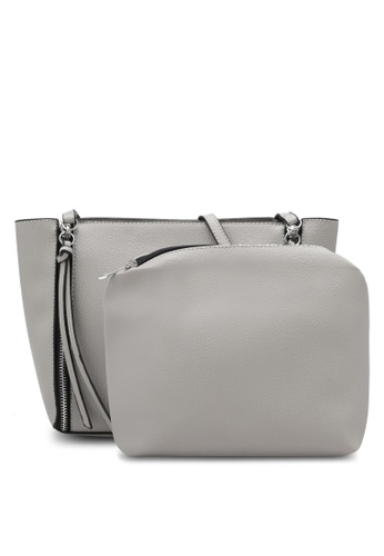 Something Borrowed grey Zip Detail Tote 17AAAZZAF6E990GS_1