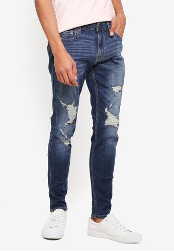 Hollister 藍色 緊身刷破牛仔褲 40E95AA0E8CF56GS_1