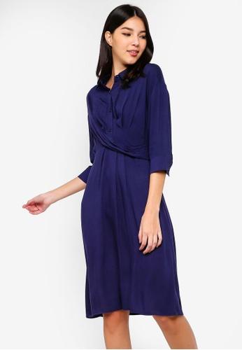 ZALORA navy Wrap Midi Shirt Dress 5A4A8AAC2BD668GS_1