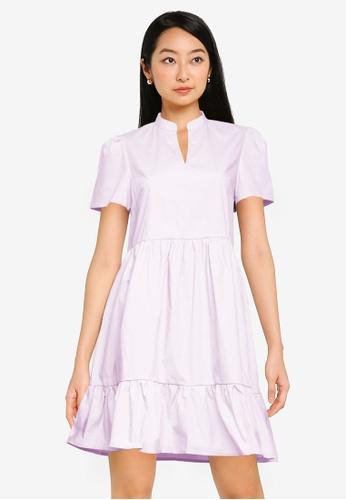 ZALORA BASICS purple Tiered Mini Dress E20AAAA9B360E7GS_1