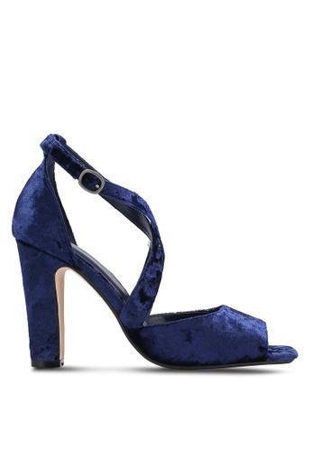 ZALORA 海軍藍色 露趾繞踝粗跟鞋 2BEB3SHB99BF71GS_1