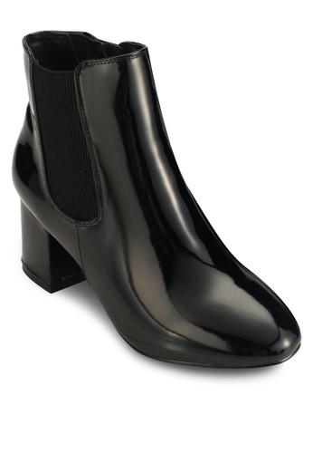 Aqua 漆皮esprit地址粗跟短靴, 女鞋, 鞋