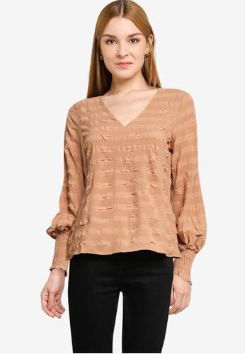 Vero Moda brown Lucy Long Sleeve V-Neck Top AB91FAABE49313GS_1