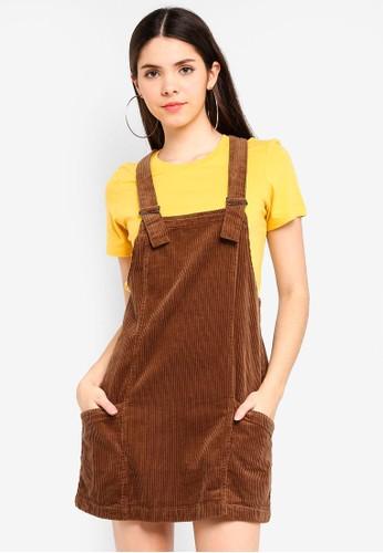 Factorie brown Cord Overall Dress DE33BAAB98A616GS_1