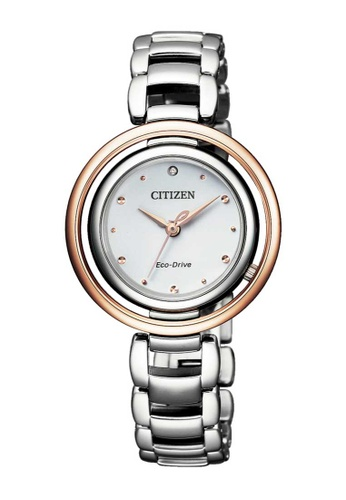 CITIZEN silver Citizen L Eco-Drive Rose Gold and Silver Stainless Steel Watch A8B90AC1BC13EFGS_1