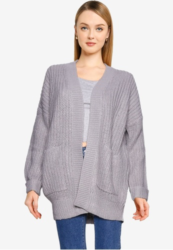 Brave Soul grey Knitted Chunky Fisherman Rib Edge Cardigan 4FC04AAF8A60A8GS_1
