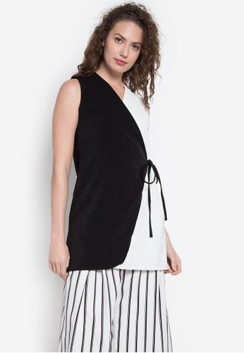 Hug black 2 Shade Wrap Long Blouse HU902AA0KDQXPH_1