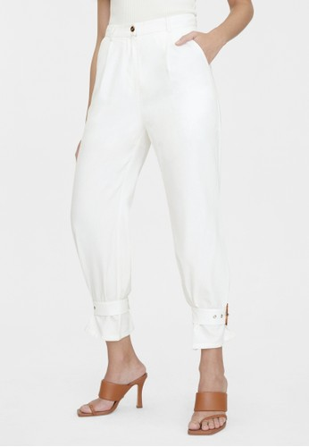 Pomelo white Squared Buckle Ankle Pants - White C7037AAF86827DGS_1