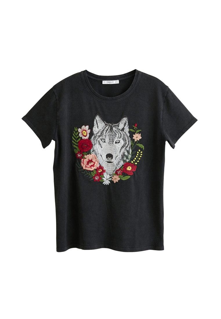 Mango Black T Embroidery Decorative Shirt 6W8Yr6g7