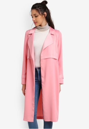 Miss Selfridge pink Matt And Shine Duster Coat MI665AA0RXA4MY_1