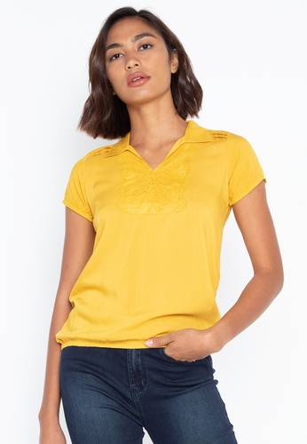 0b298a2276f48 Crissa yellow Short Sleeves Collared Blouse With Lace Detail  A075FAA12E1030GS 1