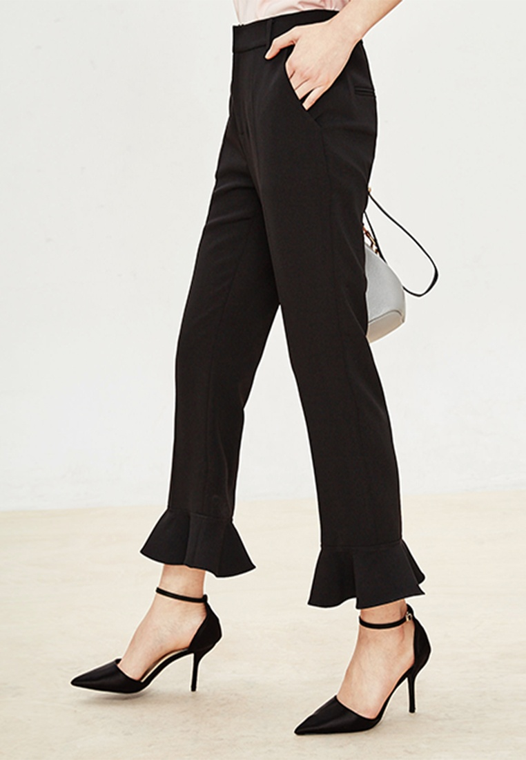 Black Pants Capri Hopeshow Length Ankle with Flared Cuffs qE8t0F8