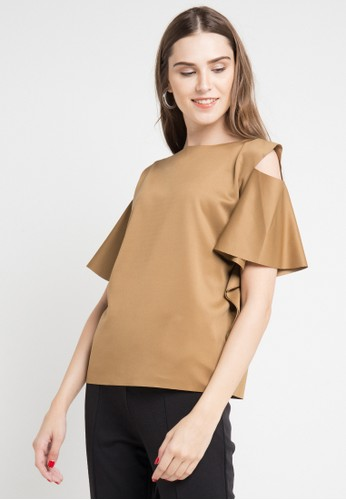 ELLE brown Blouse Shoulder Perforated 72E1BAA346125CGS_1
