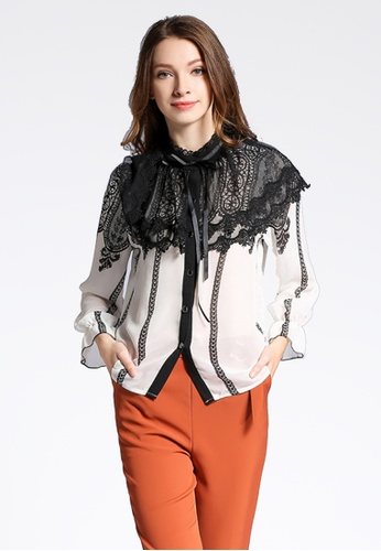 NBRAND Long Sleeve Lace Shawl Shirt NB356AA0GYY7SG_1