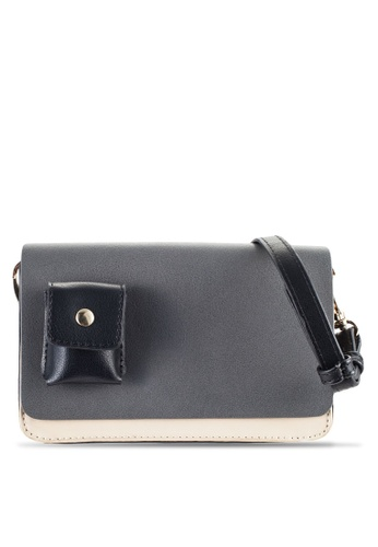 ZALORA grey Tri-Coloured Small Double-Gusset Sling Bag A09C9ACB8283B9GS_1