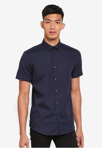 OVS navy Casual Short Sleeve Shirt F6DB7AA52C92BEGS_1