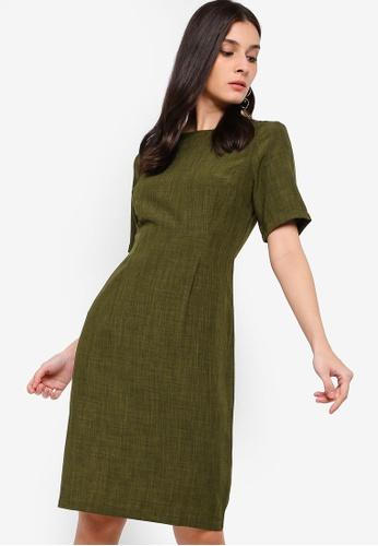 ZALORA green Pleated Details Dress 7F370AA94AD702GS_1