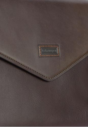 Volkswagen brown Leather Envelope Clutch VO089AC0RH4RMY_1