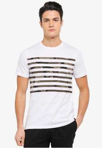 JAXON white and multi Camo Stripe Tee 1B88FAAB08793DGS_1