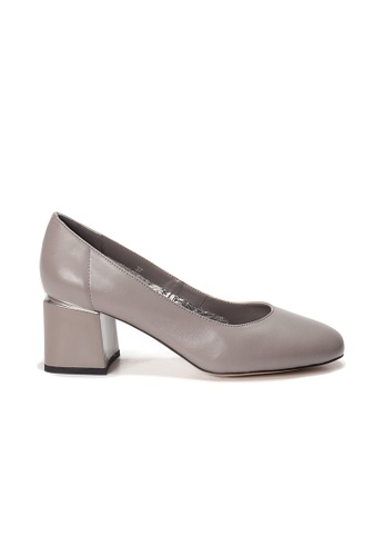 Shu Talk grey AMAZTEP Simple Round Toe Blocked Heels C3DC4SH43F0139GS_1