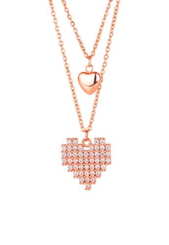 CELOVIS gold CELOVIS - Virtual Pixelated Love Pendant Necklace in Rose Gold 6F53FAC9717496GS_1