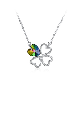 Glamorousky white 925 Sterling Silver Elegant Fashion Four Leafed Clover and Heart Shape Pendant Necklace with Austrian Element Crystal 71E2EAC663ACE0GS_1