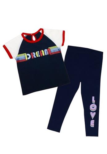 "POP Shop navy Girls' ""Dream-Love"" Top and Leggings Set 4DE9DKAF3E8BD3GS_1"