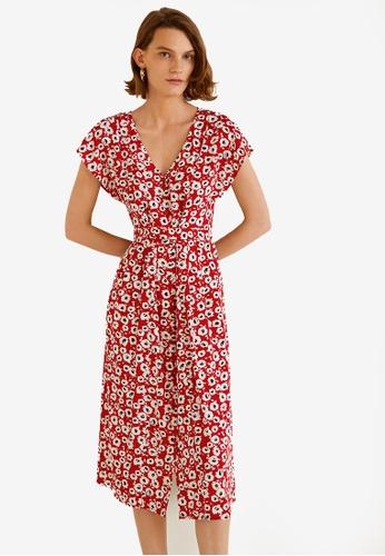 Mango red Flower Print Dress 75ED4AA2C54C88GS_1