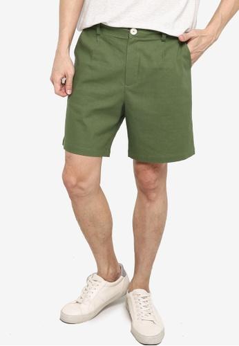 ZALORA BASICS green Linen Tailored Shorts 0EA76AA381579BGS_1