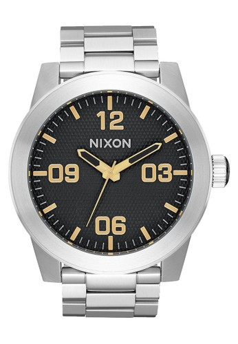 Nixon silver CORPORAL SS BLACK STAMPED/ GOLD 83EEFAC6032069GS_1