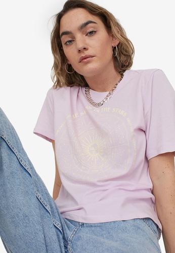 H&M purple Printed T-Shirt 80E99AA95EFF32GS_1