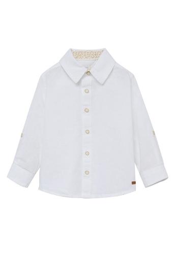 MANGO BABY white Cotton Linen-Blend Shirt DC1E5KAF4D7AD7GS_1
