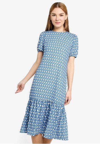 Origin by Zalora multi 100% Recycled Polyester Drop Hem Gathered Dress BE643AA452C67DGS_1