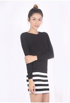Lower Stripe Long Sleeve Dress