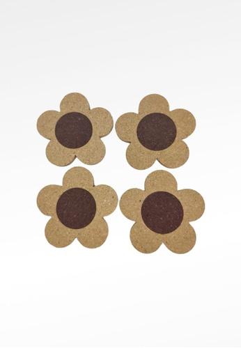 Ayra Home & Living brown Flower Drink Coaster Set of 4 91C8FHL7D10D32GS_1