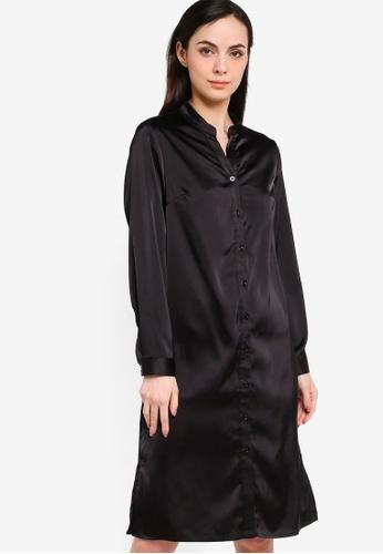 ZALORA WORK black Long Sleeve Satin Shirt Dress BA28EAA9A5C913GS_1