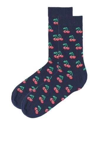 H&M blue and multi Patterned Socks 37B77AACF1042DGS_1