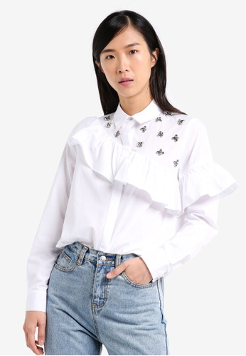 River Island white Embellished Shirt With Frill RI009AA0SRK9MY_1
