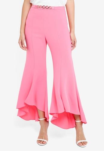 River Island pink Pink Flared Frill Hem Trousers A8F79AAF89467DGS_1