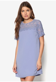 Love Lace Yoke And Sleeves Swing Dress