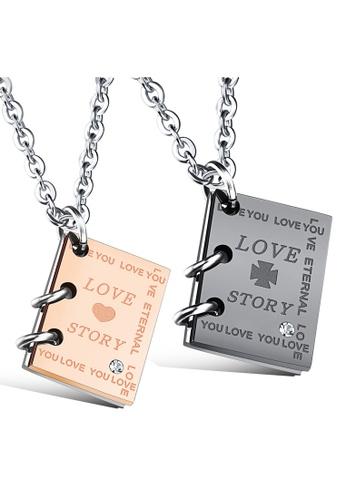 Trendyshop black and gold Couples Pendant Necklace 1 Set C5A01AC0AB5DDCGS_1