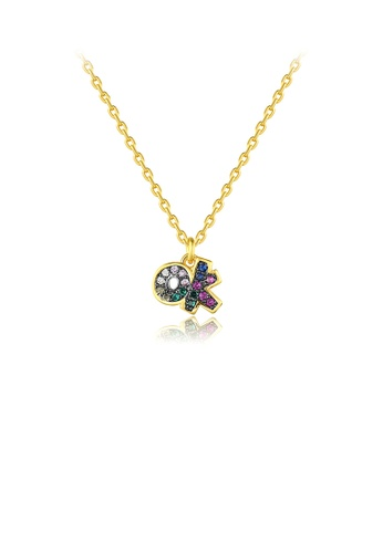 Glamorousky silver Fashion Personality Plated Gold Ok Pendant with Colorful Cubic Zirconia and Necklace FCB23ACEED87BBGS_1