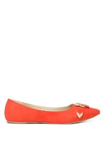 London Buckle on with Buy Flat Rag Online Ballerinas Gold SH1702 Red OPXZuik