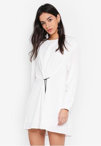 GHOSPELL white Whitewash Drawstring Dress CB96EAAA061C14GS_1