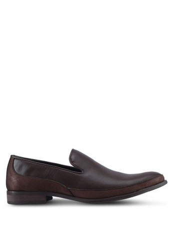 ZALORA brown Faux Suede Mix Material Slip On Dress Shoes 9BFFDSHEF78032GS_1